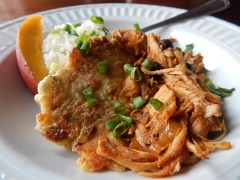 Pulled Pork with Green Onion Potato Patties