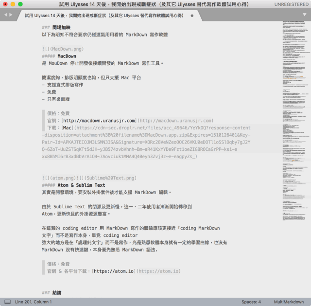 ▲ Sublime Text MarkDown 寫作畫面