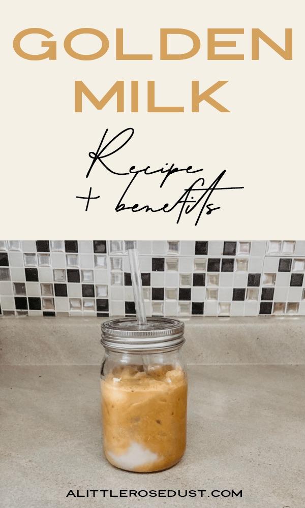 golden milk or turmeric milk in a mason jar