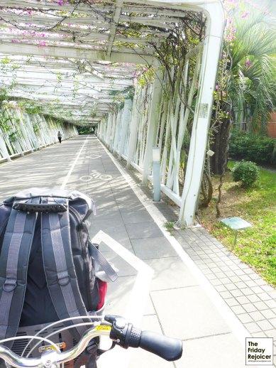 Scenic bicycle ride through romantic garden at Huabo Park