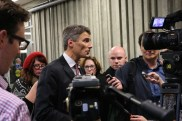 Mayor Gregor Robertson during media scrum at Langara College. By Ali Crane