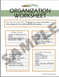 Alive & Writing Sample Organizational Worksheet