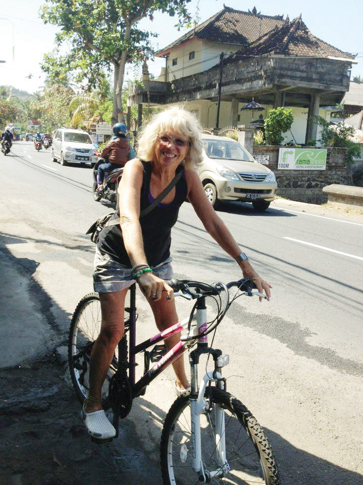 Jane Wild biking in Bali