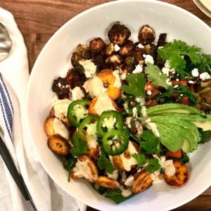 Bison & Greens Bowl with Crispy Plantains and Chipotle Lime Aioli