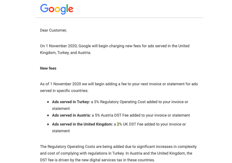 google announce 2% tax charge to advertisers in the UK