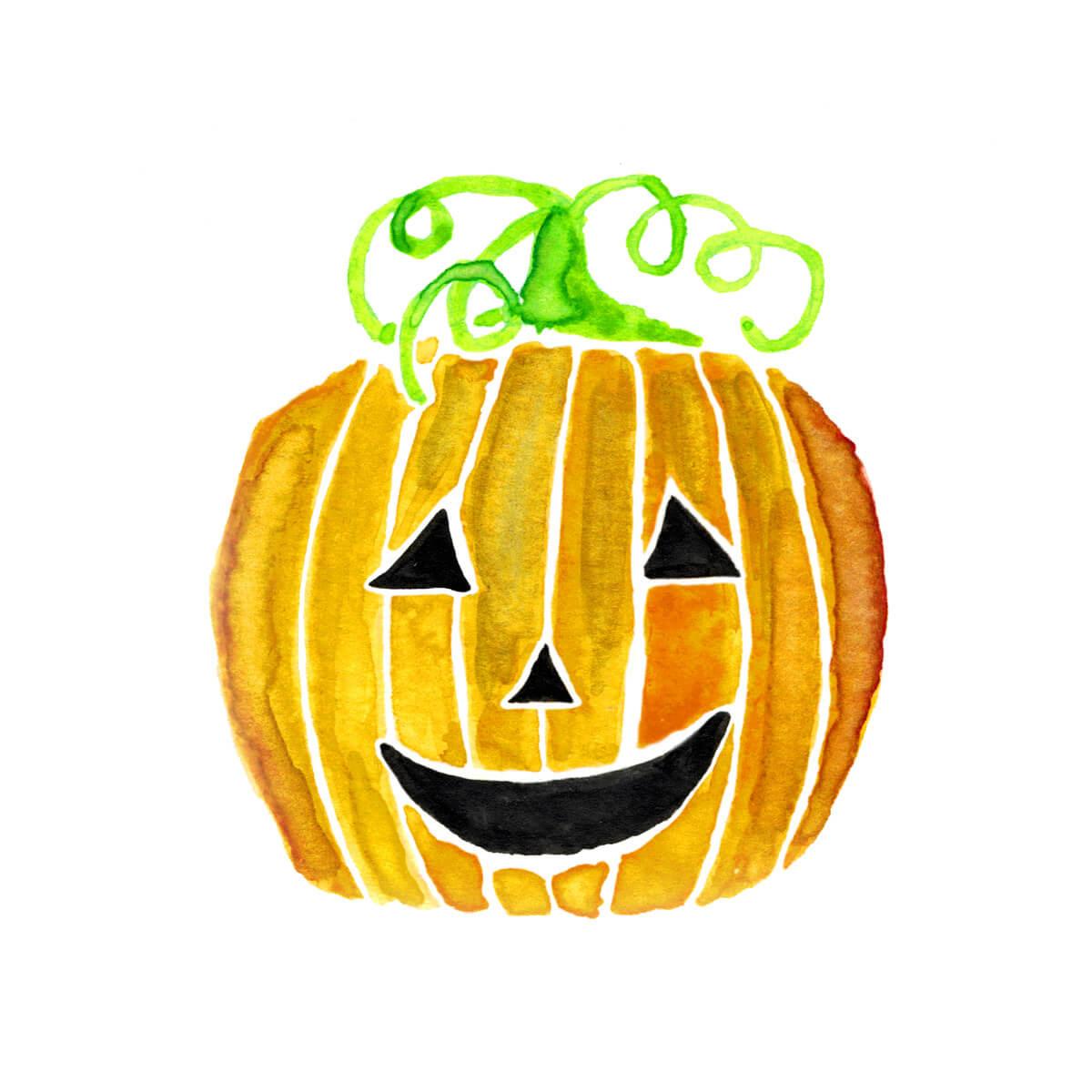 Halloween Jack-O-Lantern Pumpkin – Watercolor Design
