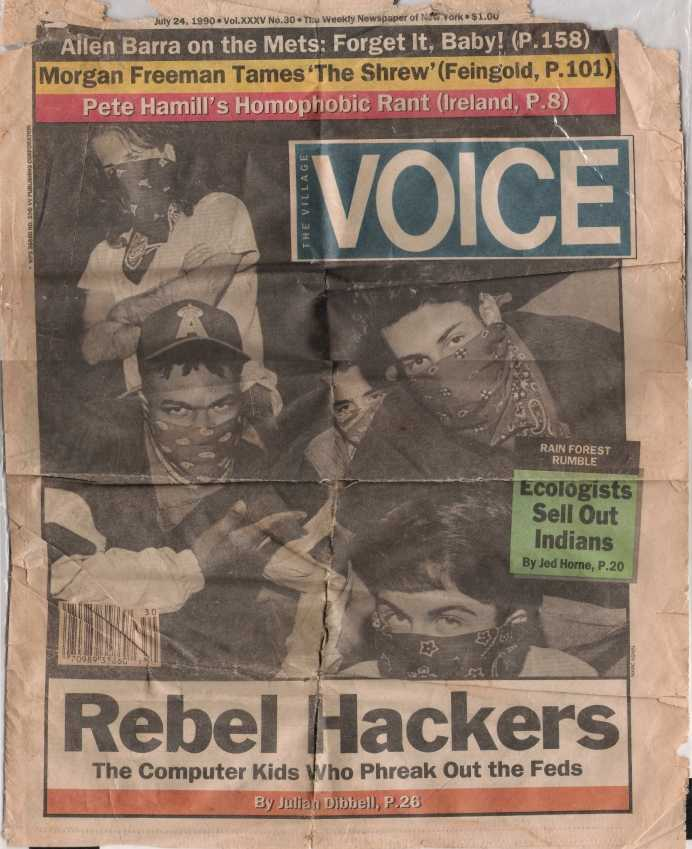 John Threat and his hacking crew M.O.D. on the cover of The Village Voice