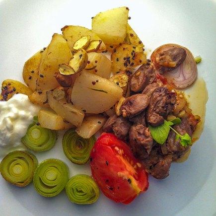 Leek, potato, tomato, shallot, chicken heart and cobnut