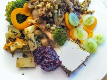 Sweet potato, broccoli, mushroom, bean sprout, sweet pepper and grape