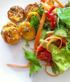 Plantain, cucumber, avocado, carrot and lettuce salad