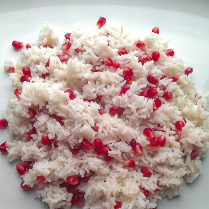 Basmati rice with pomegranate seeds