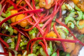 Butternut squash, celery and sweet red pepper
