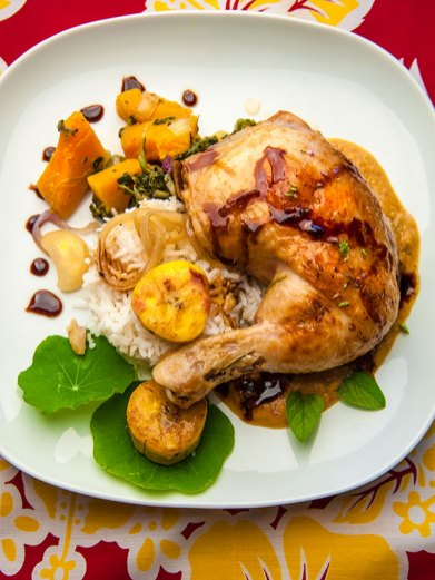 Chicken, rice, butternut squash and plantain