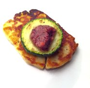 Halloumi, courgette and plum salsa