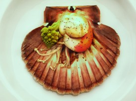 Scallop, romanesco broccoli , enoki mushrooms and poppy seeds.