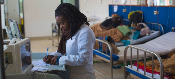 © UNICEF/Karel Prinsloo A nurse provides care for cancer patients undergoing chemotherapy in a hospital in Burera District, Rwanda.