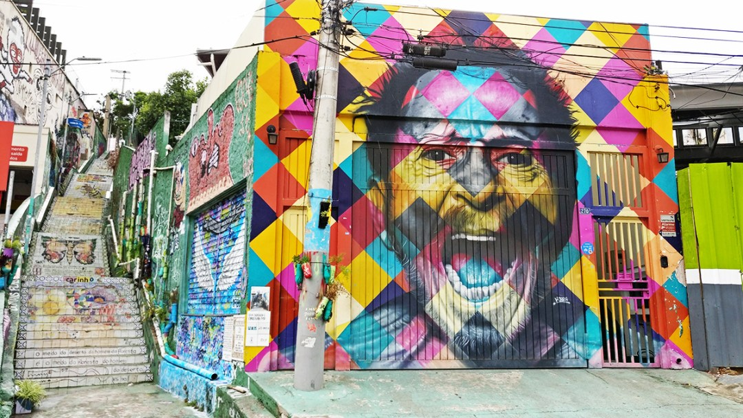 Eduardo Kobra mural at Escadaria Do Patapio close to Beco do Batman, São Paulo - 10 things to do and see in São Paulo | Aliz's Wonderland