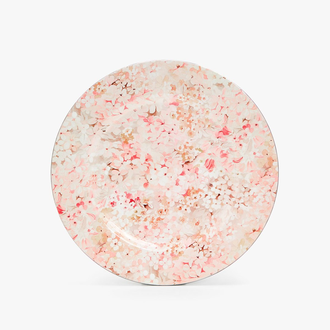 Charger plate with mini pink floral prints by Zara Home - How to give life to your interior with floral pattern? | Aliz's Wonderland