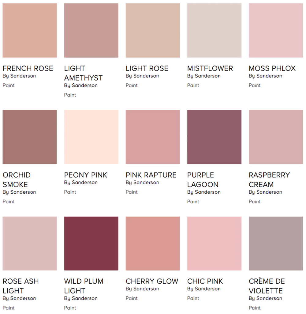 Sanderson pink paint palette on style library - Warm up your home with pink wall colour | Aliz's Wonderland