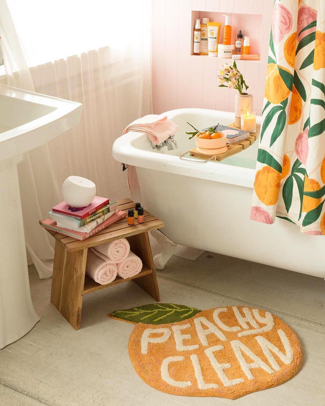 Urbanoutfitters peachy bathroom scene with pink and peach colours- Warm up your home with pink wall colour | Aliz's Wonderland