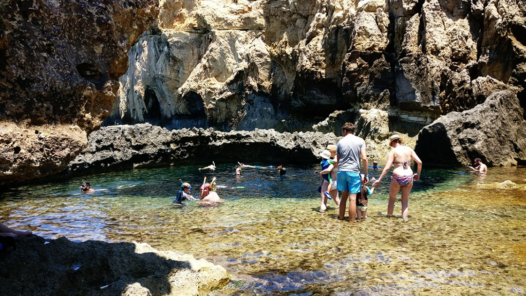 Dwejra bay and Blue Hole, the underwater cave at the remains of Azure Window, Gozo - Best beaches in Malta | Aliz's Wonderland
