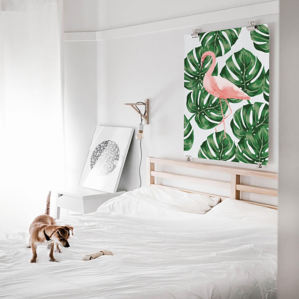 Flamingo print with monstera leaves - Decorate your home with flamingos | Aliz's Wonderland