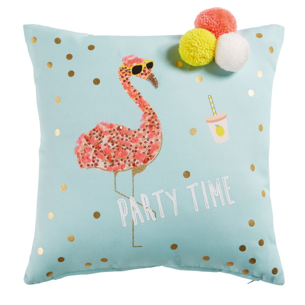 Party time flamingo cushion - Decorate your home with flamingos | Aliz's Wonderland