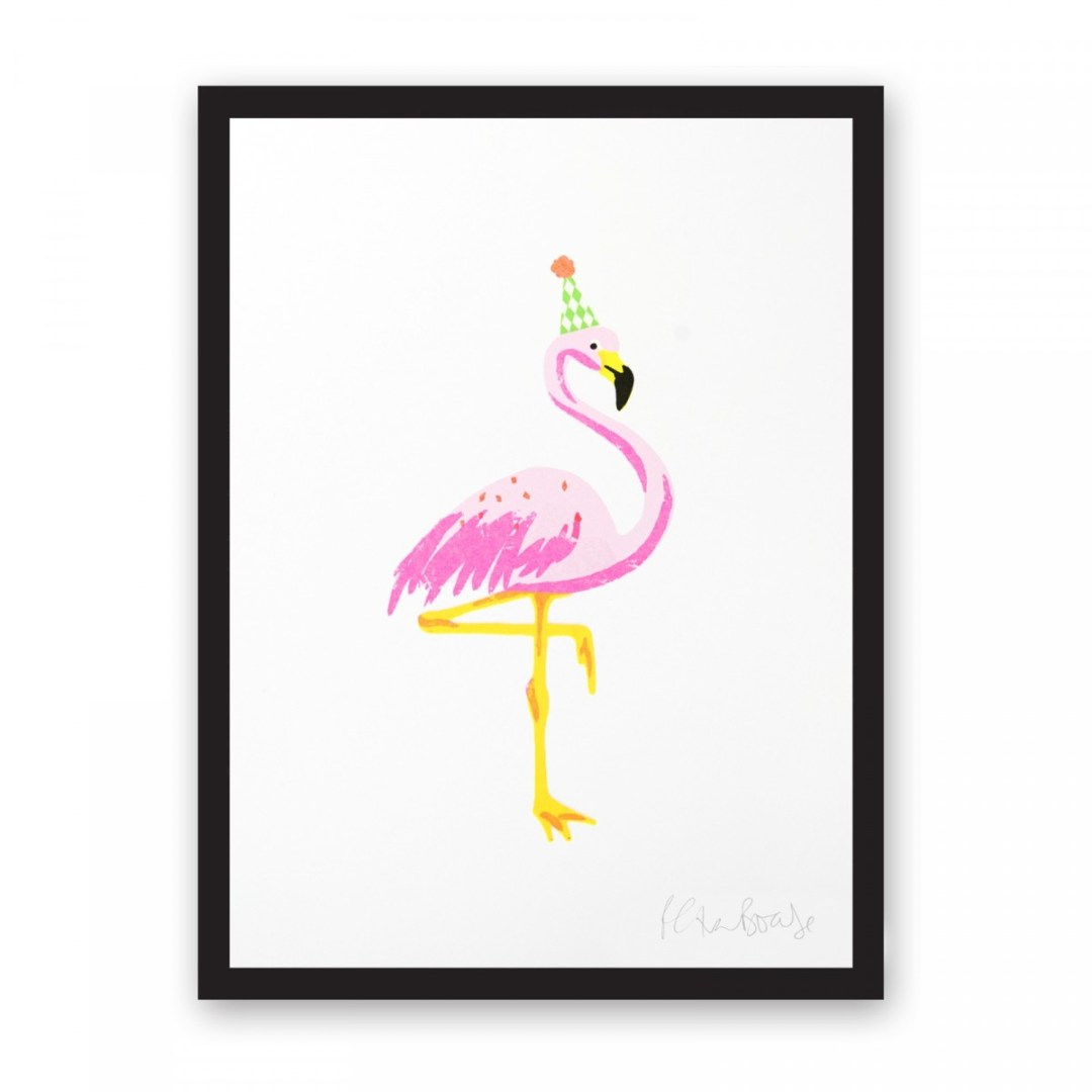 Happy flamingo risograph print by Petra Boase, available on Ohh Deer - Decorate your home with flamingos | Aliz's Wonderland