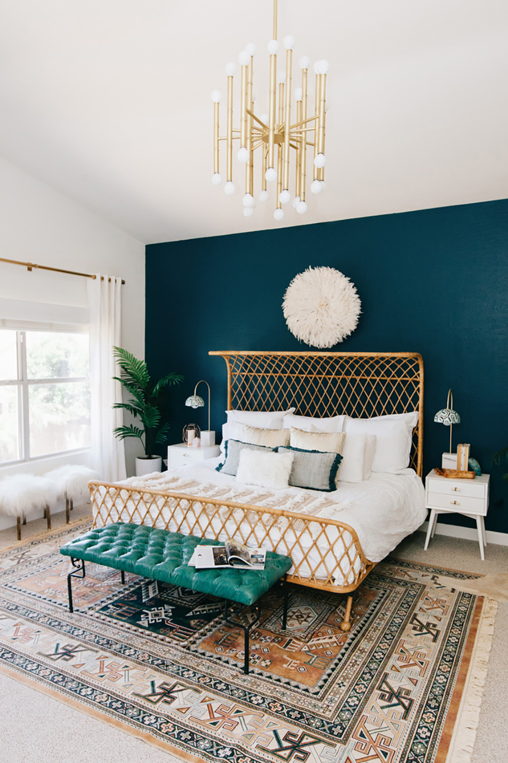 "This bedroom is painted with ""Hidden Sapphire"" paint by Benjamin Moore - 35 ideas for blue wall colour in home decoration 