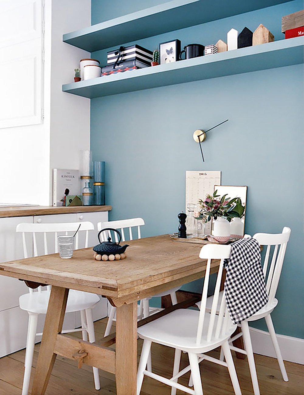 Painting one wall blue in your dining room can make a positive effect - 35 ideas for blue wall colour in home decoration | Aliz's Wonderland
