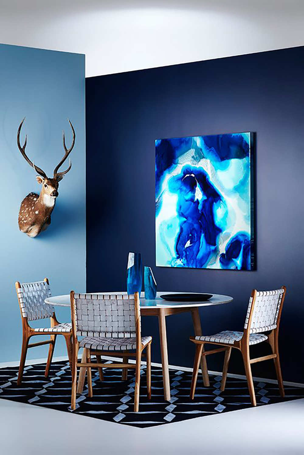 This dining room is dressed in natural materials and blue by Haymes Paint - 35 ideas for blue wall colour in home decoration | Aliz's Wonderland