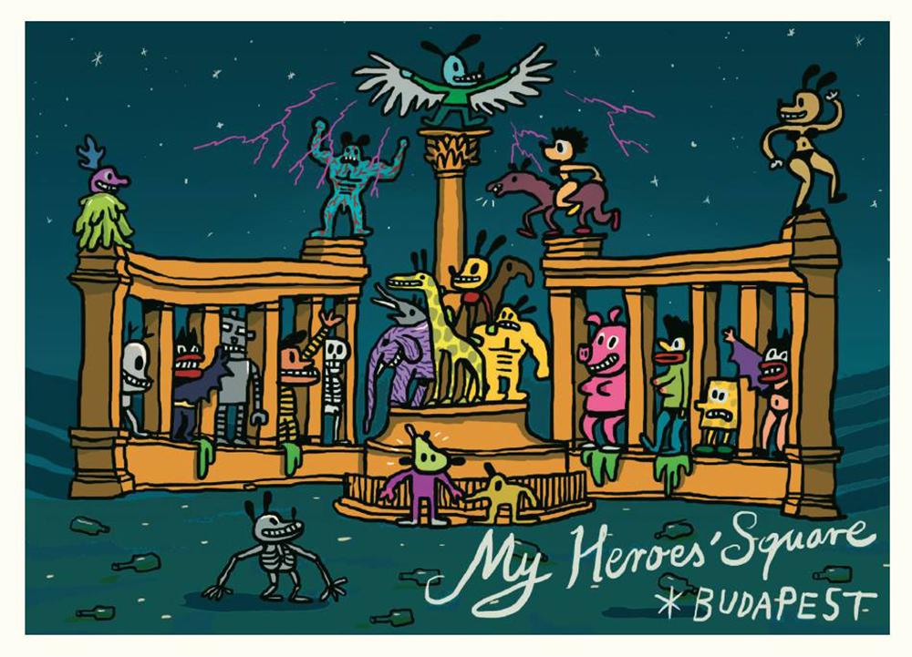 Hero's square by Attila Stark - Budapest inspired illustrations, paintings and prints by Hungarian artists   Aliz's Wonderland #Budapest #souvenir #homedecor #illustration