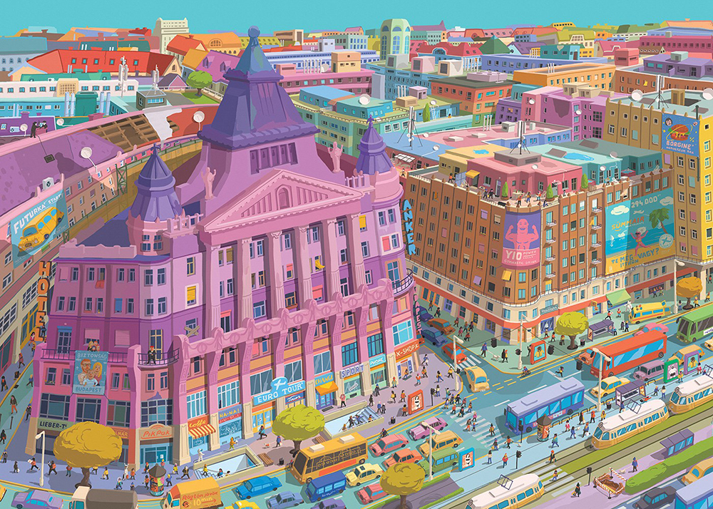 The illustrations of Anker Palace by Zsolt Vidák - Budapest inspired illustrations, paintings and prints by Hungarian artists | Aliz's Wonderland #Budapest #souvenir #homedecor #illustration