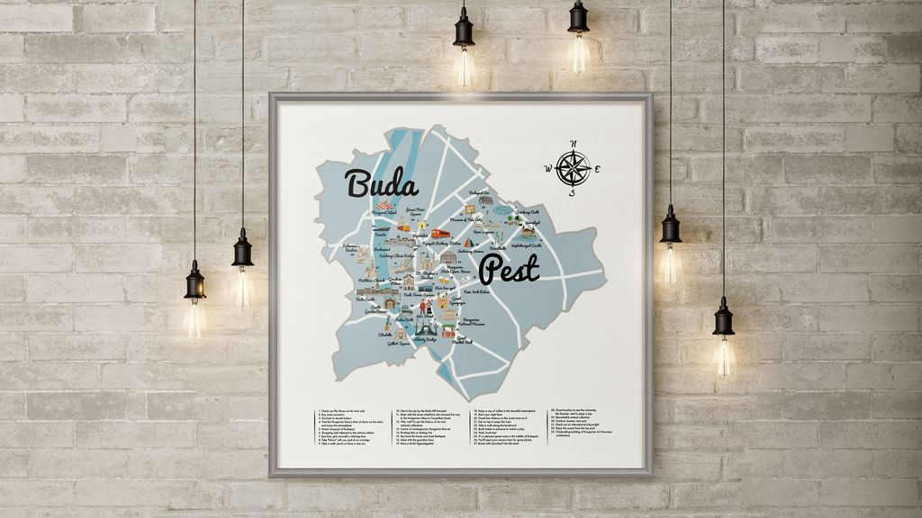 Budapest scratch-off map - Budapest inspired illustrations, paintings and prints by Hungarian artists | Aliz's Wonderland #Budapest #souvenir #homedecor #illustration