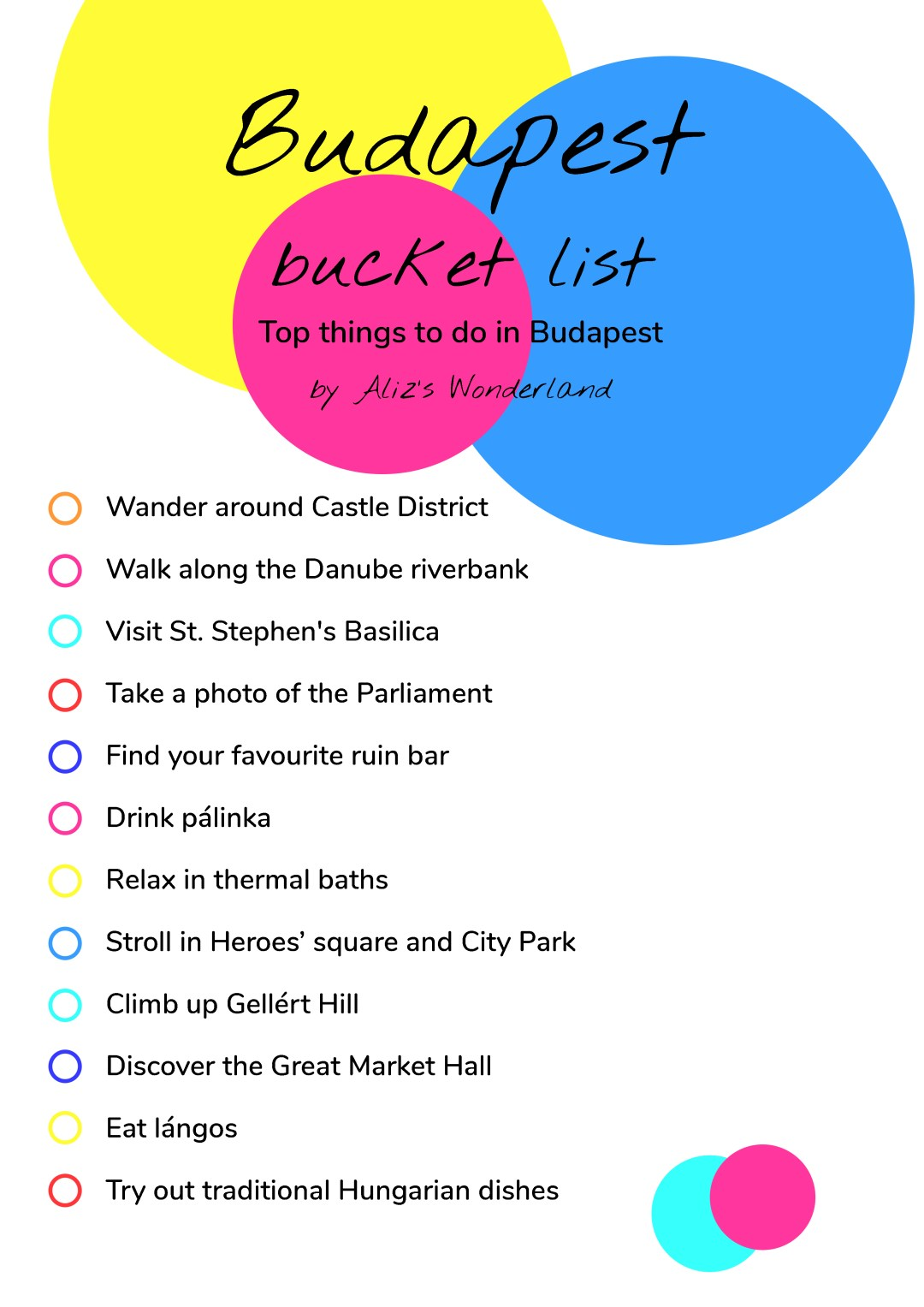 Budapest bucket list - Top things to do in Budapest | Aliz's Wonderland #travel #Budapest #bucketlist #Budapestbucketlist #printable