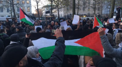 مسيرة ببروكسيل أمام مقر السفارة الأمريكية للإحتجاج على قرار الرئيس الأمريكي دونالد ترامب بالإعتراف بالقدس كعاصمة لإسرائيل.