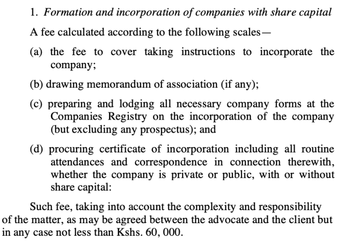 Screenshot of the Advocates Remunerations Act provisions on formation of new businesses.
