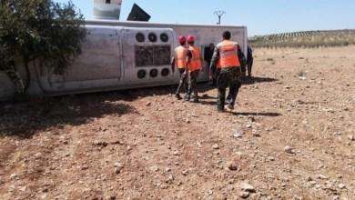 Photo of بينهم أطفال.. إصابة أكثر من 20 شخصا جراء تدهور بولمان على طريق حمص سلمية