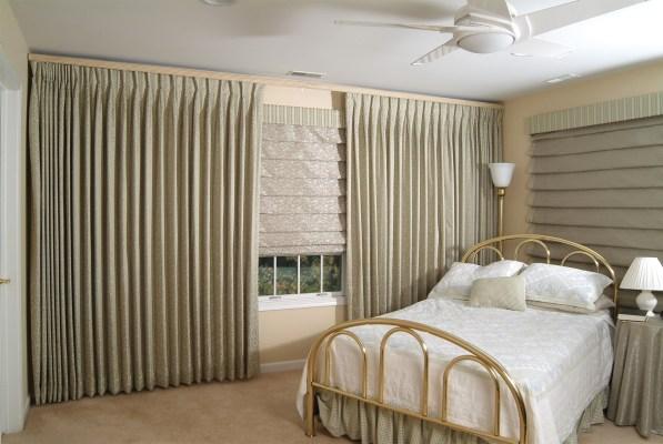 Inverted pleat drapes