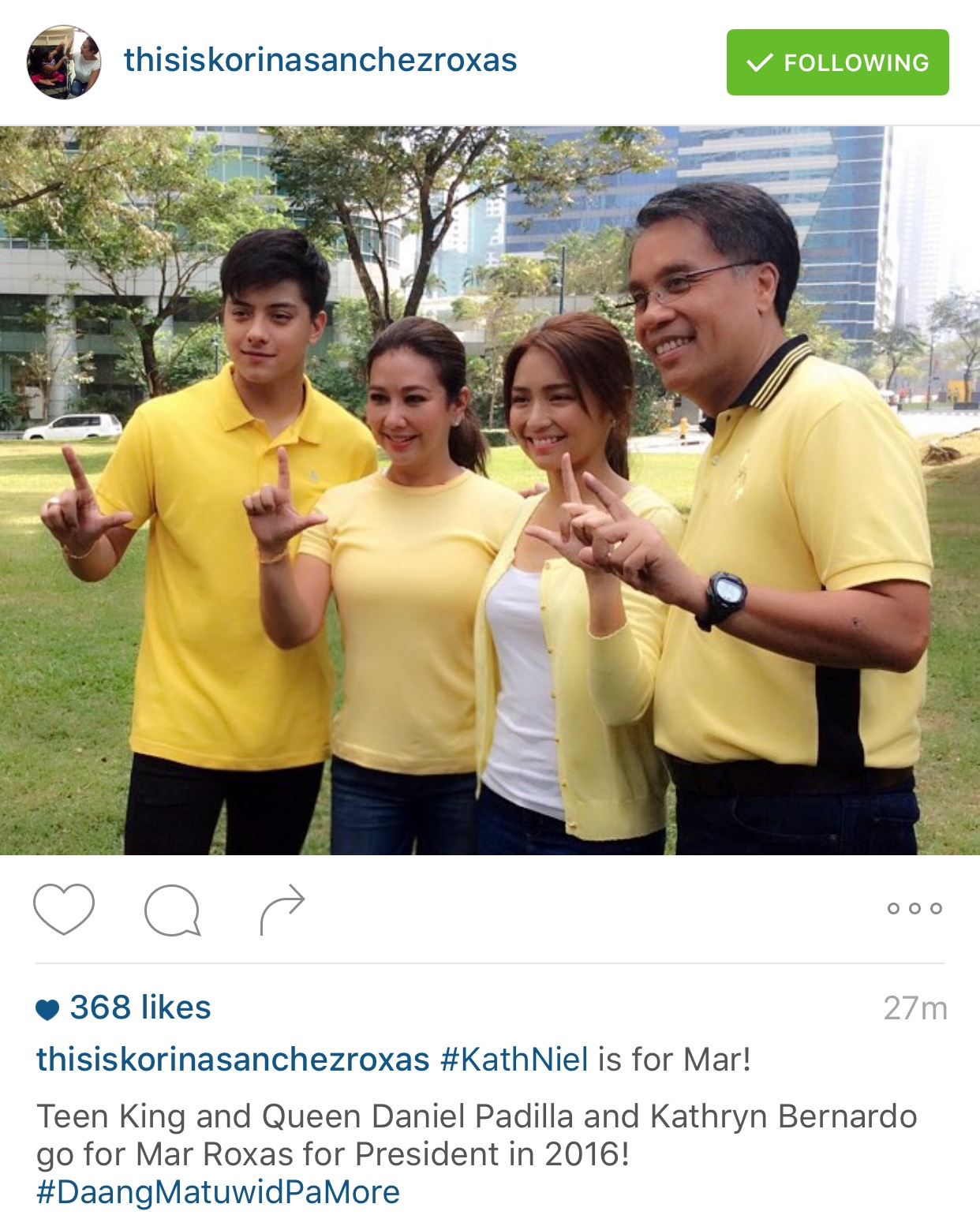 KathNiel is for Mar Roxas
