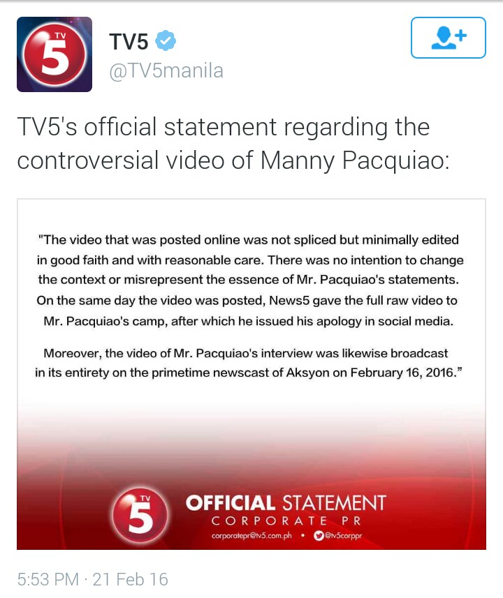 Official Statement of TV5 on the Edited Video of Manny Pacquiao