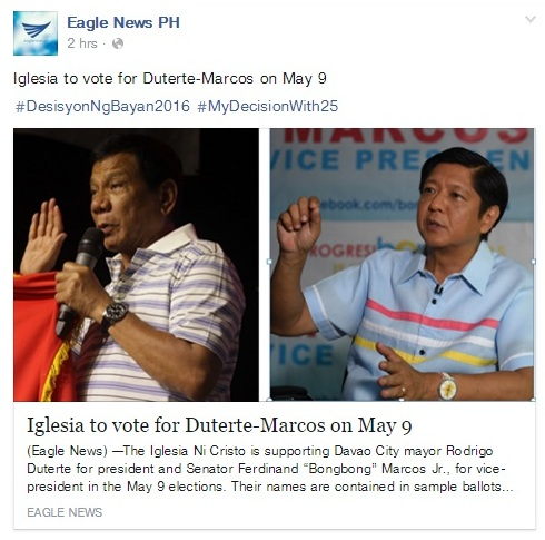 INC endorses duterte