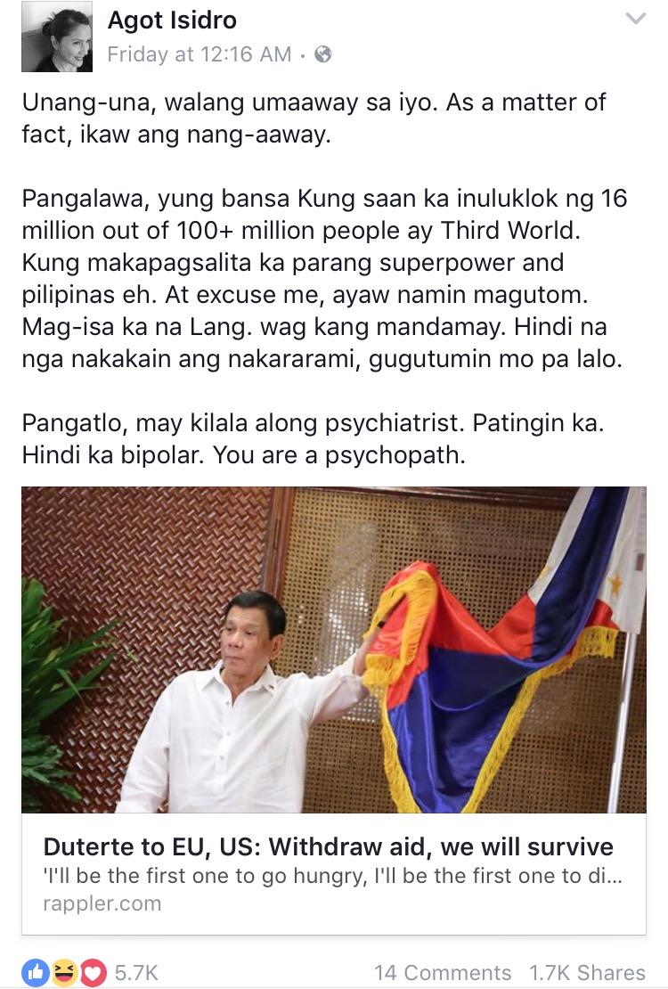 Image courtesy of Facebook: Agot Isidro