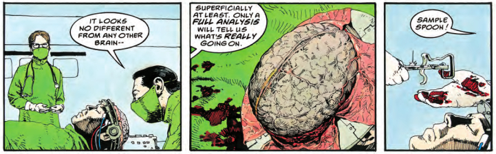 Three panels from the comic Mazeworld, showing doctors about to unethically opperate on the protagonist's brain.