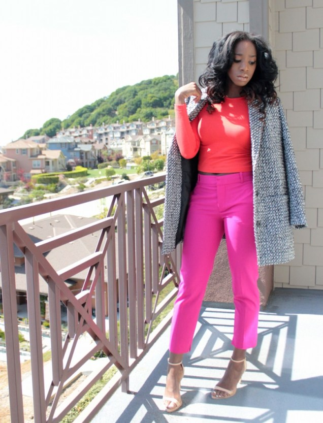 color block pink red