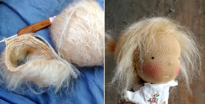 Изготовление волос из мохеровой пряжи. Автор: Jenny