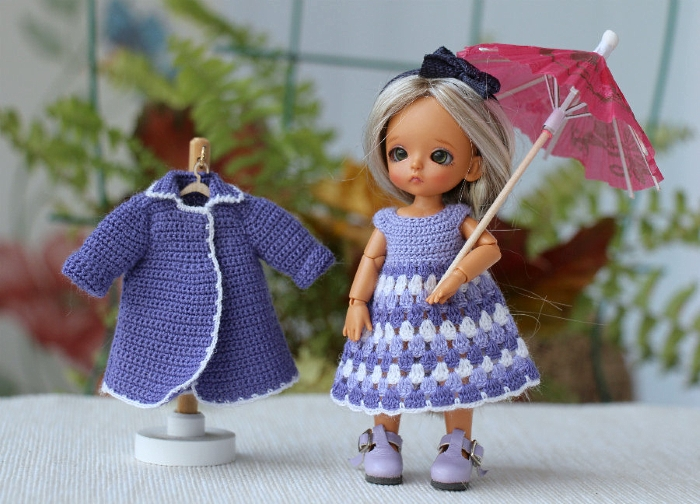 Lati white SP 3.5-inch purple coat and dress-petite clothing for bjd dolls