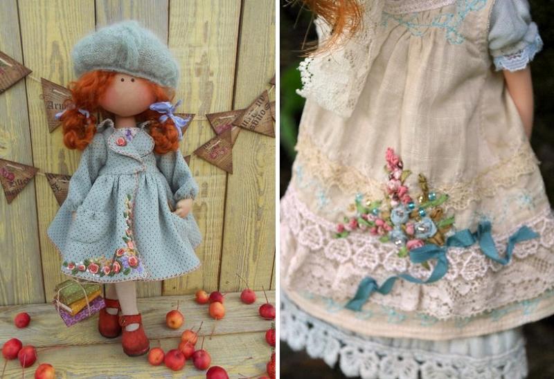 Вышивка лентами на кукольной одежде