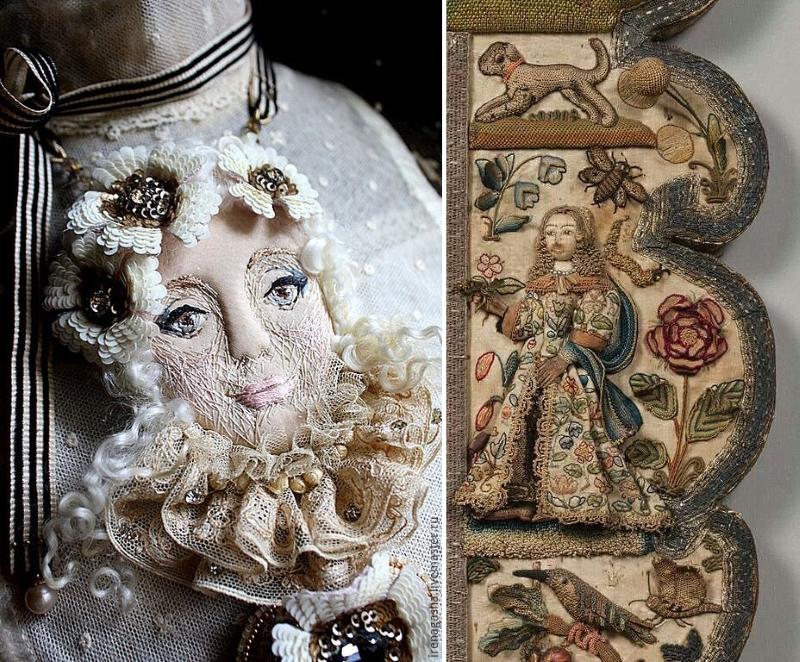 Брошь и средневековая одежда, изготовленные с помощью объемной аппликации