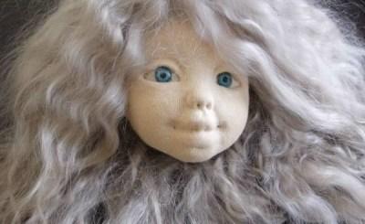 Как обклеить трикотажем голову куклы